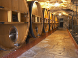 Barrels of Wine Aging in Cellar, Chateau Vannieres, La Cadiere d&#39;Azur Photographic Print by Per Karlsson