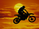 Digital Composite of Motocross Racer Doing Jump Fotografisk tryk af Steve Satushek