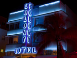 Nighttime View of Art Deco Colony Hotel, South Beach, Miami, Florida, USA Photographic Print by Nancy & Steve Ross