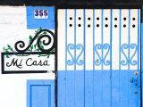 Detail of Colorful Wooden Door, Puerto Vallarta, Mexico Photographic Print by Nancy &amp; Steve Ross