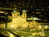 Nighttime Aerial View of the Main Square Featuring the Cathedral of Cusco, Cusco, Peru Photographic Print by Jim Zuckerman