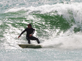 Surfer Goes Right at Tamarack Surf Beach, Carlsbad, California, USA Photographic Print by Nancy & Steve Ross