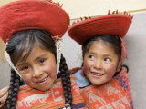 Portrait of School Girls in Native Dress at Recess, Huilloc, Peru Photographic Print by Dennis Kirkland