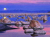 Full Moon Rises at Sunset on Mono Lake, California, USA Photographic Print by Dennis Flaherty