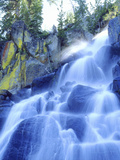 Waterfall Cascades Past Lichen-Covered Rocks, Sierra Nevada Mountains, California, USA Photographic Print by Christopher Talbot Frank