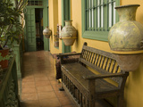 Pottery and Bench in House in Barranco Neighborhood, Lima, Peru Photographic Print by John & Lisa Merrill