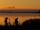 Photographers after Sunrise Walking Along Potagannissing Bay in Springtime, Drummond Island Photographic Print by Mark Carlson
