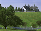 Elegant Horse Barn Atop Hill, Woodford County, Kentucky, USA Photographic Print by Dennis Flaherty