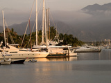 Boats Docked in Marina Vallarta Against Fog-Shrouded Mountains, Puerto Vallarta, Mexico Photographic Print by Nancy & Steve Ross