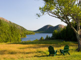 Adirondack Chairs on the Lawn of the Jordan Pond House, Acadia National Park, Mount Desert Island Fotografie-Druck von Jerry & Marcy Monkman