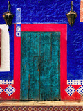 Detail of Colorful Wooden Door and Step, Cabo San Lucas, Mexico Photographic Print by Nancy &amp; Steve Ross