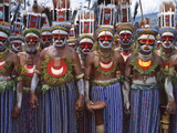 Highlands Warriors Marching Performance at Sing Sing Festival, Mt. Hagen, Papua New Guinea Photographic Print by Keren Su