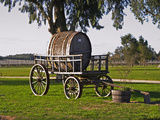 Horse Drawn Carriage Cart and Wooden Barrel, Bodega Juanico Familia Deicas Winery, Juanico Photographic Print by Per Karlsson