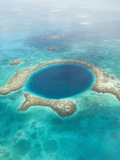 Aerial of Blue Hole, Sailboat Anchored, Lighthouse Atoll, Belize Photographic Print by Stuart Westmoreland
