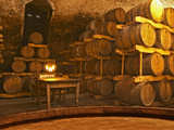 Barrel Aging Cellar and Table, Bodega Juanico Familia Deicas Winery, Juanico, Canelones, Uruguay Photographic Print by Per Karlsson