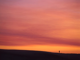 Person Watching the Sunset from Sand Dune on Coast, Oregon Dunes National Recreation Area, Oregon Photographic Print by Steve Terrill