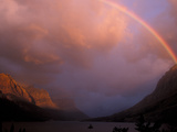 Rainbow and Stormy Sunrise Over St. Mary Lake, Glacier National Park, Montana, USA Photographic Print by Diane Johnson