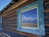 Window Reflection of the Mountains at Grand Teton National Park, Wyoming, USA Photographic Print by Diane Johnson