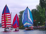 Sailboats with Spinakers in the Opening Day Parade of Boating Season, Seattle, Washington, USA Photographic Print by Charles Sleicher