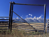 Ranch's Fencing Frames the Mountains of Grand Teton National Park, Wyoming, USA Photographic Print by Diane Johnson