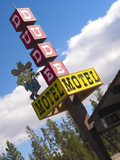 Dude Motel Sign, West Yellowstone, Montana, USA Photographic Print by Nancy & Steve Ross