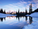 Mt. Rainier and Clouds Reflected in Upper Tipsoo Lake at Sunrise, Mt. Rainier National Park Photographic Print by Jamie & Judy Wild