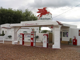 Vintage Mobil Gas Station, Ellensburg, Washington, USA Photographic Print by Nancy & Steve Ross