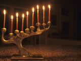Menorah with Candles, Lit for Chanukah, Bellevue, Washington, USA Photographic Print by John & Lisa Merrill