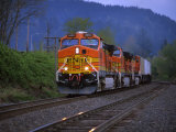 Freight Train Moving on Tracks, Stevenson, Columbia River Gorge, Washington, USA Photographic Print by Steve Terrill