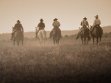 Sepia Effect of Cowboys Riding, Seneca, Oregon, USA Fotografisk tryk af Nancy & Steve Ross