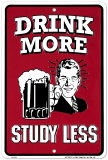 Drink More, Study Less Plaque en métal
