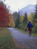 Man Riding on Paved Trail, Franconia Notch, New Hampshire, USA Photographic Print by John &amp; Lisa Merrill