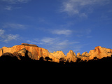 Sunrise on the West Temple and Towers of the Virgin, Zion National Park, Utah, USA Photographic Print by Diane Johnson