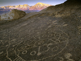 Circular Petroglyphs at the Edge of the Great Basin, Sierra Nevada Range in the Distance, Las Vegas Photographic Print by Dennis Flaherty