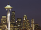 The Space Needle and Skyline at Night, Seattle, Washington, USA Photographic Print by Dennis Flaherty
