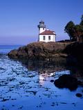 Lime Kiln Lighthouse, Entrance to Haro Strait, San Juan Island, Washington, USA Photographic Print by Jamie & Judy Wild