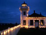 Mukilteo Lighthouse with Holiday Lights, Mukilteo, Washington, USA Photographic Print by Jamie & Judy Wild