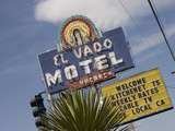 Detail of El Vado Motel Sign, Albuquerque, New Mexico, USA Photographic Print by Nancy & Steve Ross