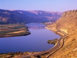 Columbia River with Apple Orchards and Desert Hills, Chelan, Washington, USA Photographic Print by Jamie & Judy Wild