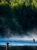 Fly-Fishing in Early Morning Mist on the Androscoggin River, Errol, New Hampshire, USA Photographic Print by Jerry & Marcy Monkman
