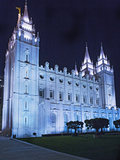 Mormon Salt Lake Temple at Night, Salt Lake City, Utah, USA Photographic Print by Dennis Flaherty