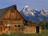 Weathered Wooden Barn Along Mormon Row with the Grand Tetons in Distance, Grand Teton National Park Photographic Print by Dennis Flaherty