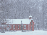 Old Red Schoolhouse and Forest in Snowfall at Christmastime, Michigan, USA Photographic Print by Mark Carlson