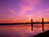 Train Bridge Over Columbia River at Sunrise, Pasco-Kennewick, Washington, USA Photographic Print by Jamie & Judy Wild