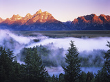 The Grand Tetons from the Snake River Overlook at Dawn, Grand Teton National Park, Wyoming, USA Photographic Print by Dennis Flaherty