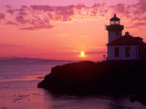 Lime Kiln Lighthouse, Entrance to Haro Strait, San Juan Island, Washington, USA Photographic Print by Jamie & Judy Wild
