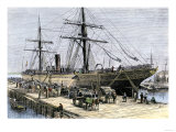 African-American Stevedores Loading Cotton on a Ship in Charlestown, South Carolina, c.1870 Premium Giclee Print