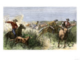 Cowboys Cutting Out Cattle to Drive a Herd from Texas to Kansas, c.1870 Giclee Print