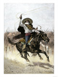 California Vaquero Galloping to Lasso a Steer, c.1800 Giclee Print