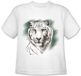 Youth: Animal Wildlife - White Tiger Stripe Shirt